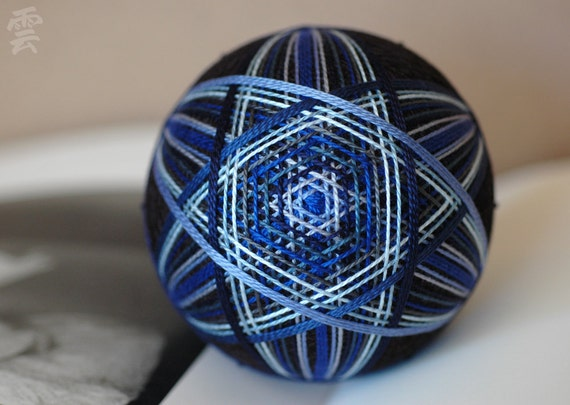 Wrote Some Blues - Japanese temari - free US shipping - home decor ornament - blue black silver gray embroidery - crafting for a cause