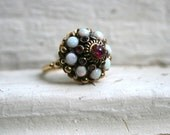 Vintage 14K Yellow Gold Thai Princess Ring with Ruby and Opal