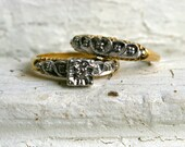 Super Sweet Two Ring 14K Yellow Gold Diamond Wedding Set - Engagement Ring and Wedding Band