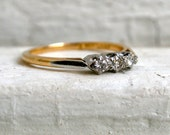 RESERVED - Fabulous Antique 18K Yellow Gold and Platinum Diamond Three Stone Engagement Ring