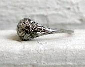Vintage Leafy Filigree 18K White Gold Diamond Engagement Ring