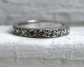 RESERVED - Heavy Vintage Half Eternity 14K White Gold Diamond Pave Wedding Band - 0.54ct