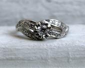 RESERVED - Beautiful Wavy Vintage 14K White Gold Diamond Ring.