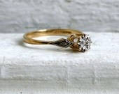 Lovely British Vintage 9K Yellow Gold Three Stone Diamond Engagement Ring.