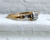 Pretty Floral Vintage 14K Rose Gold Diamond Engagement Ring