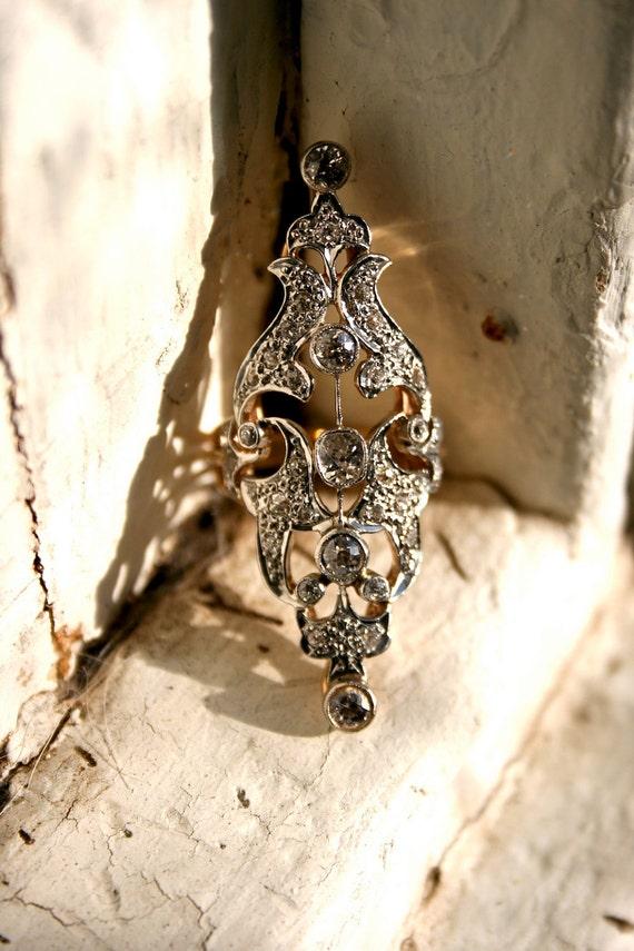 Large Spectacular Ornate Victorian Platinum/Rose Gold Diamond Ring - 2.50 cts.