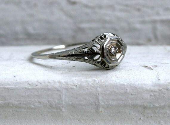 RESERVED - Sweet Vintage 14K White Gold Filigree Engagement Ring.