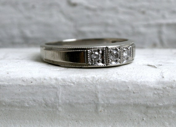 RESERVED - Unique Vintage 14K White Gold Diamond Wedding Band/ Engagement Ring.