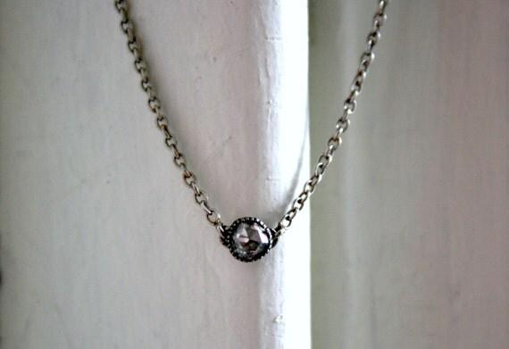 Fantastic Rare Antique Rose Cut Diamond Platinum Necklace.