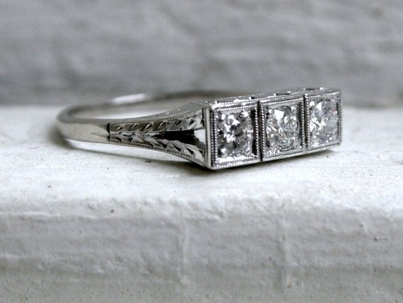Vintage Split Shank Three Stone Diamond Platinum/14K White Gold Engagement Ring.