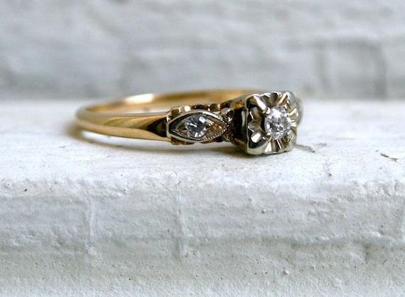 Pretty Vintage 14K Yellow Gold Diamond Engagement Ring