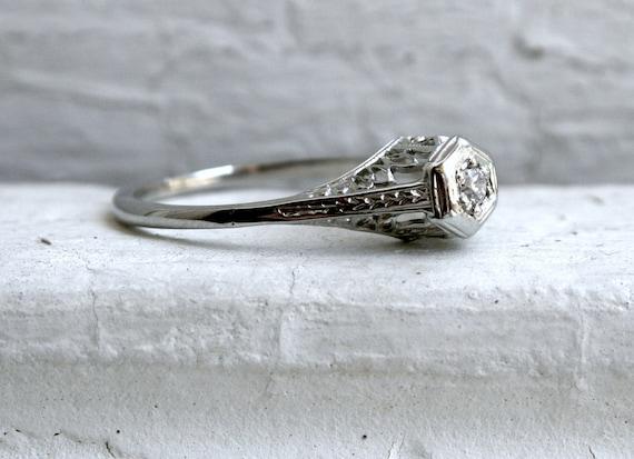 Pretty Vintage Filigree 14K White Gold Diamond Engagement Ring