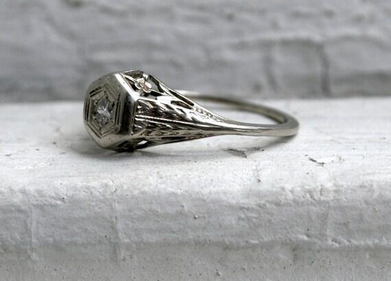 RESERVED - Lovely Floral Vintage 18K White Gold Diamond Engagement Ring.