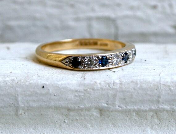 Lovely British Vintage 9K Yellow Gold Diamond and Sapphire Wedding Band - 0.30ct.