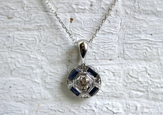 RESERVED - Pretty Vintage 18K White Gold Diamond and Sapphire Pendant with Chain