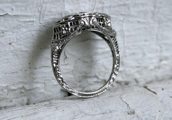 Outstanding Ornate Vintage 18K White Gold Diamond Three Stone Engagement Ring.