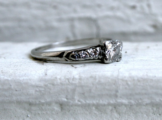 Classic Vintage Platinum Diamond Engagement Ring - 0.58ct
