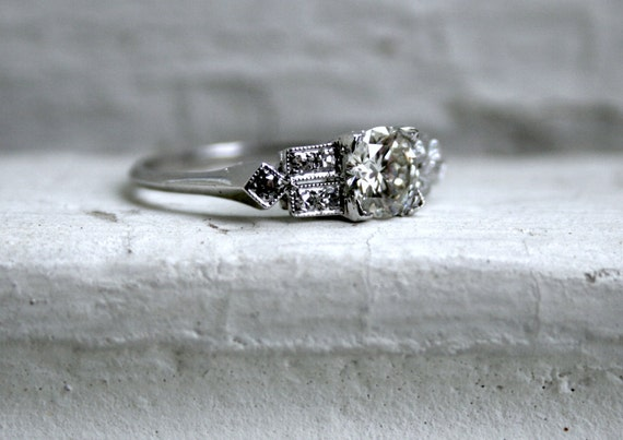 RESERVED - Stunning Vintage Art Deco Platinum Diamond Engagement Ring - 0.95ct.