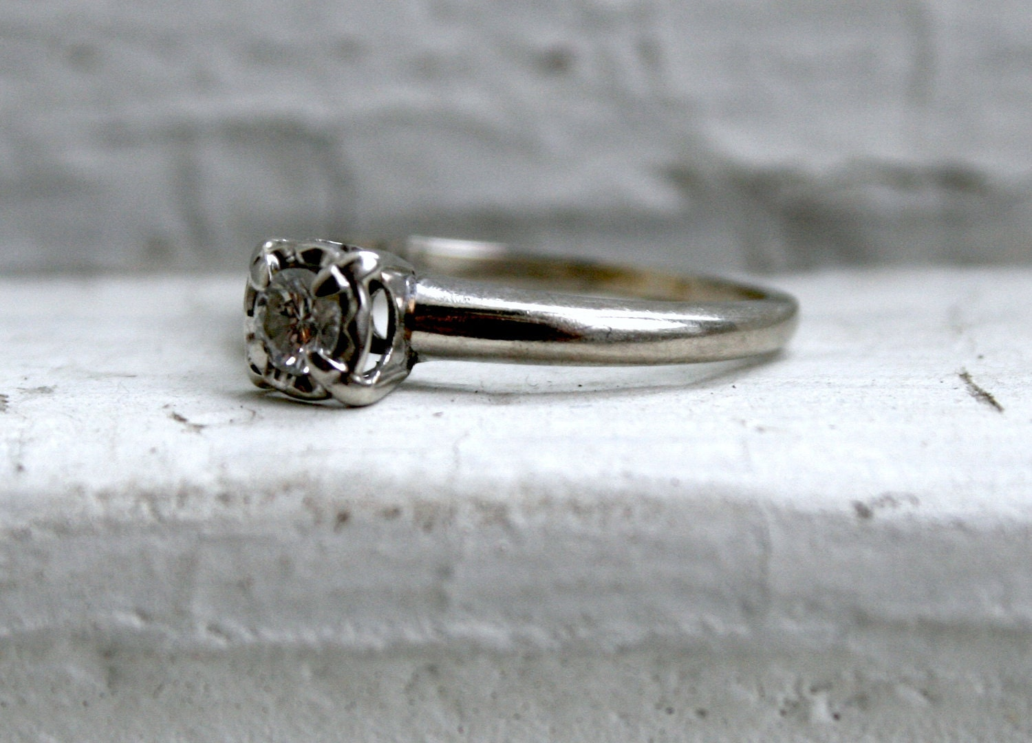 simple vintage solitaire diamond engagement ring by goldadore. Black Bedroom Furniture Sets. Home Design Ideas