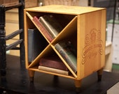 Wine Crate End Table - Wooden Nightstand Wine Box with Diagonal Shelves - Cresta Blanca Winery Bookcase - Wood Wine Rack