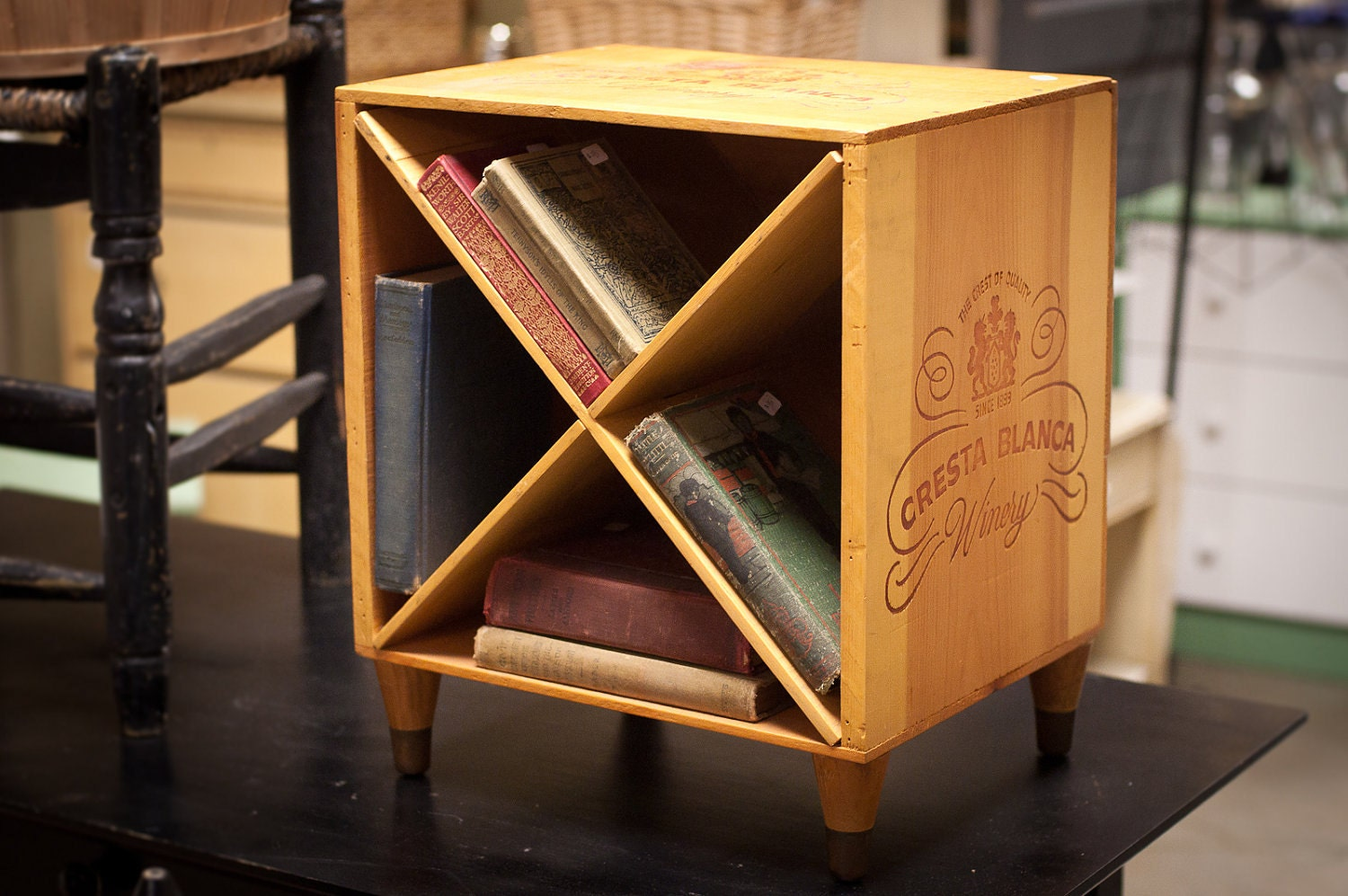 Wine Crate End Table Wooden Nightstand Box With
