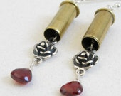 Guns N Roses Bullet Earrings - 22 Caliber Bullet Casings with Sterling Silver and Garnets