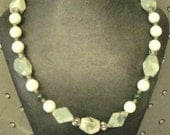 sale   WHITE and GREEN JADE Necklace