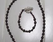 SALE     Real Garnet Necklace and Bracelet Set