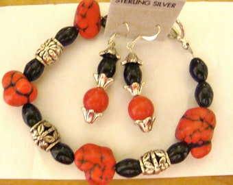 Red Turquiose and Onyx bracelet and earrings