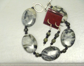 JUNGLE JASPER BRACELET   and Earrings