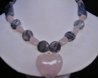 Free Shipping  PINK QUARTZ and MARBLE  Necklace