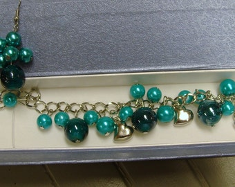 TEAL CHARM BRACELET With Free Earrings