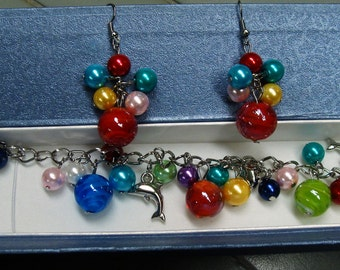 Multi Colored Charm Bracelet   With Free Earrings