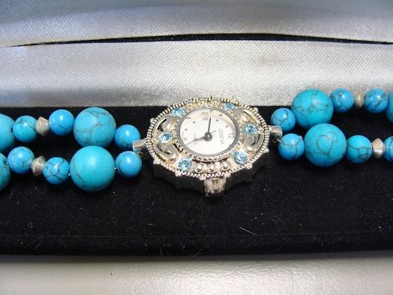 Geniune Turquoise with Swarovski Crystals Watch