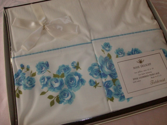 Sale....Vintage Pillowcases, Still in the Gift Box Vintage Pair with Blue Roses  Reduced Price