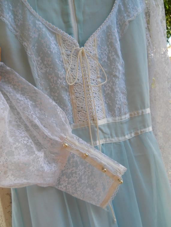On Reserve for Deanne ....  70's Maxi Dress, Light Blue Sheer, Formal,  Boho, Prairie, Peasant Dress