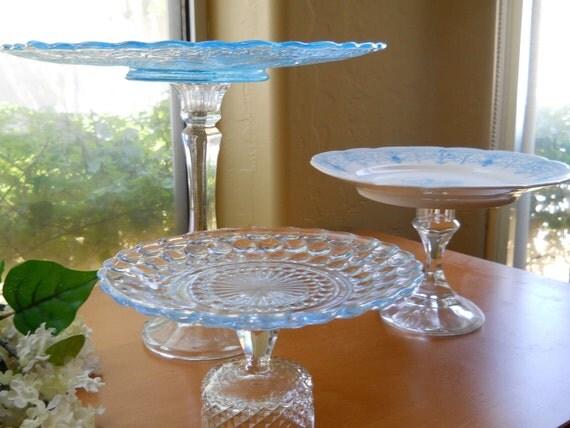 Light Blue Dessert Buffet, Pedestal Plates Servers