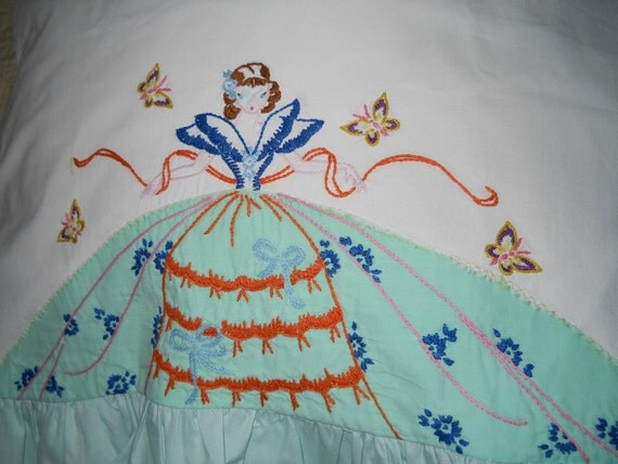 Vintage Southern Belle Embroidered Pillowcase Light Green