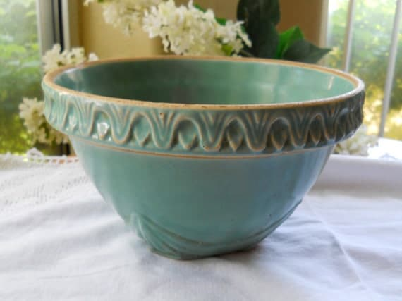 Vintage Antique Stoneware Blue Green Crock Bowl