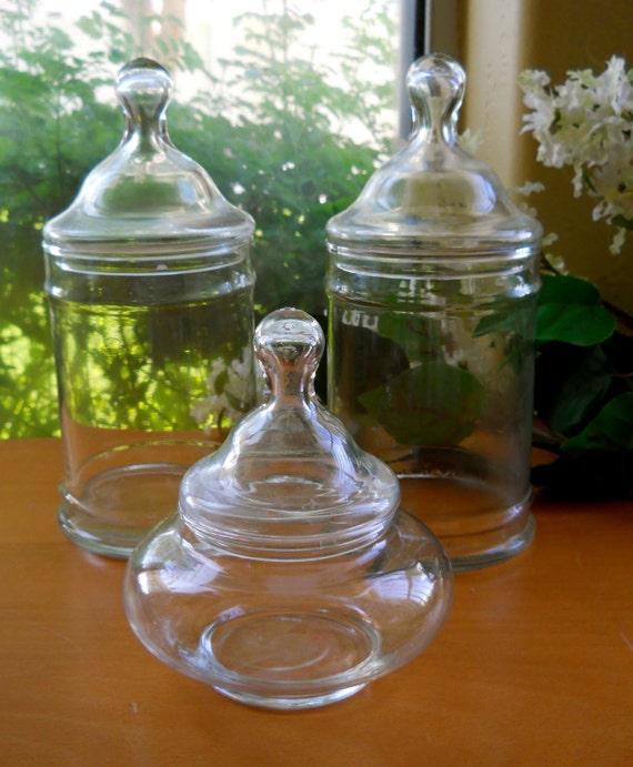 Set of Three Glass Apothecary Jars