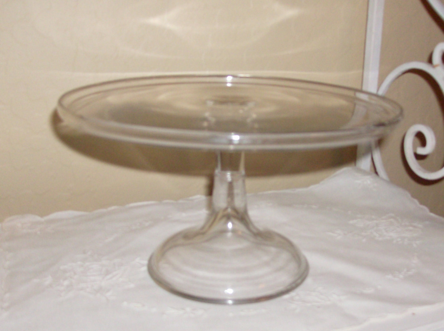 Price reduced vintage clear glass cake stand by cyndalees
