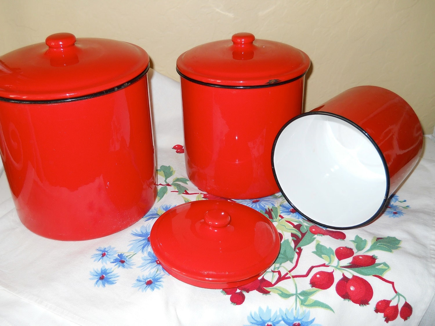 Vintage Red Enamel Canister Set