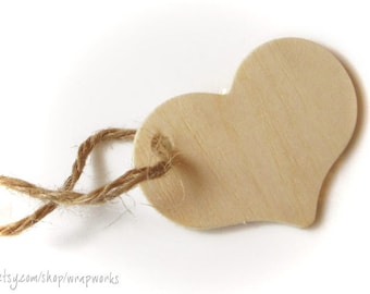 "100 Natural Wood Heart Tags for Crafting, 2 5/16"" wide Unfinished Wood Heart Cut Outs"