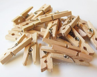 200 Darjeeling Tea Stained Miniature Clothes Pins  - Tiny 1 inch