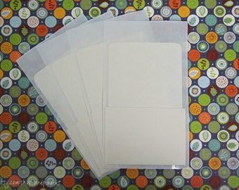 100 Library Card Pockets with Self Adhesive Backs