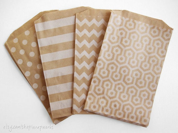 40 Middy Bitty Bags Kraft Paper and White Polka Dots, Stripes, Chevron and Honeycomb- Candy Buffets, Favors