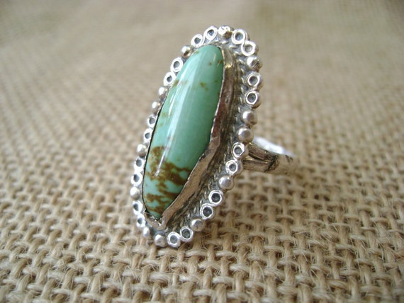 Vintage Sterling Silver Southwest Turquoise Ring, size 7, made in Mexico