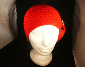 Bright red flapper style cloche hat