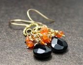 Gold Accent Black Drip Faceted Agate and Tangerine Carnelian Cluster Earrings