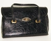 vintage PURSE black bag textured large doctor 1950 Spilene usa everyday office women